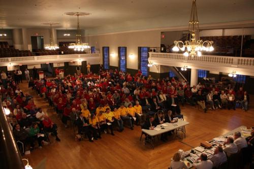Citizens of Milford gathered in Milford's Town Hall on April 8, 2013 to hear Foxwoods' first presentation to the Board of Selectmen.